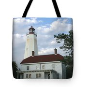 Sandy Hook Lighthouse And Building Tote Bag