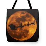Santa Across The Sky Tote Bag