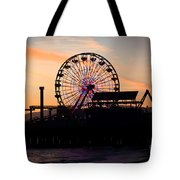Santa Monica Pier Ferris Wheel Sunset Tote Bag by Paul Velgos
