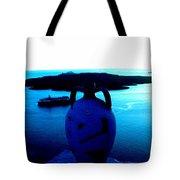 Santorini By Night Greece Tote Bag