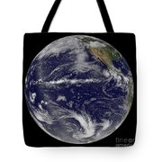 Satellite Image Of Earth Centered Tote Bag by Stocktrek Images