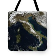 Satellite View Of Snow In Italy Tote Bag