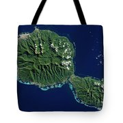 Satellite View Of Tahiti Tote Bag