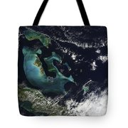 Satellite View Of The Bahama Islands Tote Bag
