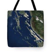 Satellite View Of The Croatian Islands Tote Bag