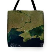 Satellite View Of The Ukraine Coast Tote Bag by Stocktrek Images