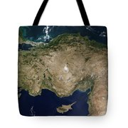 Satellite View Of Turkey And The Island Tote Bag