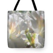 Satin White Azaleas Tote Bag
