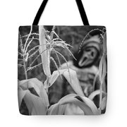Scarecrow In The Corn Black And White Tote Bag