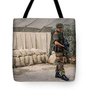 Scenery Of A Checkpoint Used Tote Bag by Luc De Jaeger