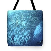 School Of Jacks And Divers At Liberty Tote Bag