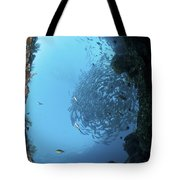 School Of Trevally Seen Through Hole Tote Bag