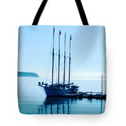 Schooner At Dock Bar Harbor Me Tote Bag