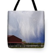 Scifi Storm And Red Barn Tote Bag