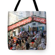 Scouts Marching During Christmas Parade In Bethlehem Tote Bag
