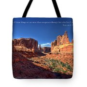 Scripture And Picture Romans 8 37  Tote Bag by Ken Smith