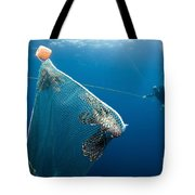 Scuba Diver Nets Invasive Indo-pacific Tote Bag