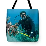 Scuba Diver With Spear Of Invasive Tote Bag
