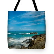 Sea Landscape With Beach Coast Rocks And Blue Sky Tote Bag