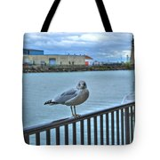 Seagull At Lighthouse Tote Bag