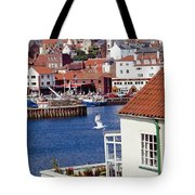 Seagull At Whitby Harbor Tote Bag by Axiom Photographic
