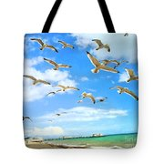 Seagulls At Worthing Sussex Tote Bag