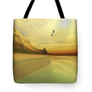Seagulls Fly Near The Mountains Of This Tote Bag by Corey Ford