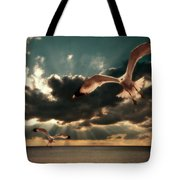 Seagulls In A Grunge Style Tote Bag by Meirion Matthias
