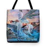 Seagulls On Brighton Pier Tote Bag