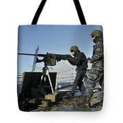 Seaman Fires A .50 Caliber Machine Gun Tote Bag