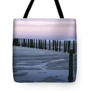 Seascape At Dusk With Pillars In Tote Bag