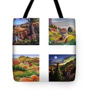 seasonal farm country folk art-set of 4 farms prints amricana American Americana print series Tote Bag