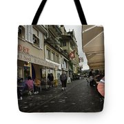 Seated In The Cafe Along The River In Lucerne In Switzerland Tote Bag