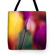 Selective Focus Tulip Flower Field Tote Bag