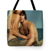 Sensual Portrait Of A Young Couple On The Beach Tote Bag
