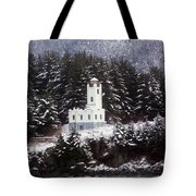 Sentinel Island Lighthouse In The Snow Tote Bag