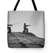 Sentinels - Fishing In The Fog Tote Bag