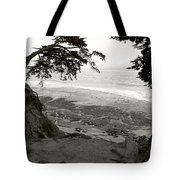 Sentinels View Of The Ocean Black And White Tote Bag