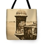 Sentry Tower Castillo San Felipe Del Morro Fortress San Juan Puerto Rico Rustic Tote Bag by Shawn O'Brien