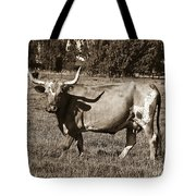 Sepia Longhorn Cow Tote Bag