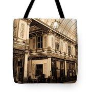 Sepia Toned Image Of Leadenhall Market London Tote Bag
