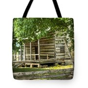 Settlers Cabin And Crosstie Fence 4 Tote Bag