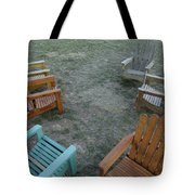 Several Lawn Chairs Scattered Tote Bag