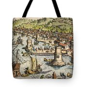 Seville: Departure, 1594. /ndeparture For The New World From Sanlucar De Barrameda, The Port Of Seville, Spain. Line Engraving, 1594, By Theodor De Bry Tote Bag
