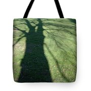 Shadow Of A Tree On Green Grass Tote Bag