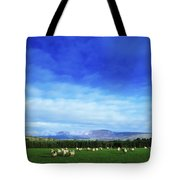Sheep Grazing In Field County Wicklow Tote Bag