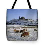 Sheep On A Snow Covered Landscape In Tote Bag
