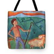Shepherd Boy Detail Of Red Sky At Night Tote Bag