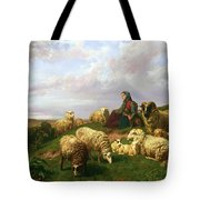 Shepherdess Resting With Her Flock Tote Bag