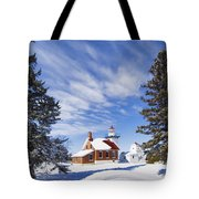 Sherwood Point Lighthouse And New Snow -  - D001650 Tote Bag